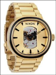 Nixon Capital Automatic Winding 100m Stainless Steel Gold Skeleton Swiss Watch