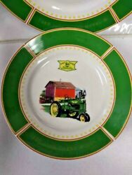 """John Deere Dishes 1935 Model B Tractor By Gibson Set Of 4 Salad Plates 8 3/4"""""""