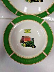 """John Deere Dishes 1935 Model B Tractor By Gibson Set Of 3 Rimmed Bowls 9"""""""