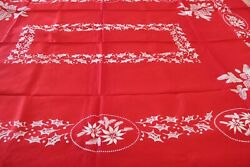 Vtg Nwt Tambour Embossed All Rayon Red And White Christmas Tablecloth 52 X 70