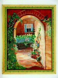 M.jane Doyle Signed Orig.art Oil/canvas Painting The Archwaystreet Artframed