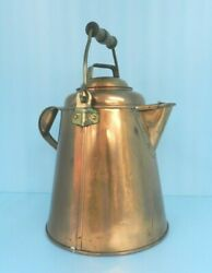 Stunning Antique Heavy Copper And Brass Kettle/pitcherw/lid Hand Made 9-3/4 Qts