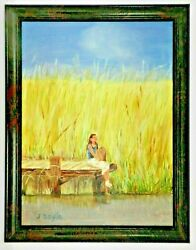 M.jane Doyle Signed Orig.art Oil/canvas Painting Solowomanend Of Pierframed