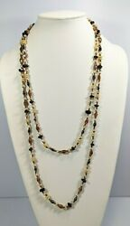Artisan Brown Black Cream Glass Bead Long Necklace 62 Inches Opera Length