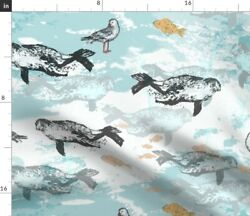 Bird Blue Fish Sea Seals Natural History Spoonflower Fabric By The Yard