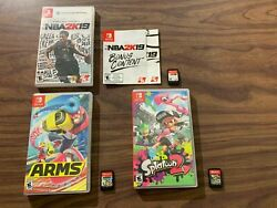 Splatoon 2 + Arms + Nba 2k19 Nintendo Switch Lot -- With Cases