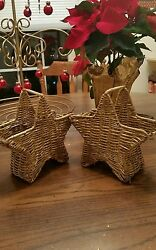 2 Gold Star Sparkle Straw Table Silverware Holder / Mantle Holiday Ornament