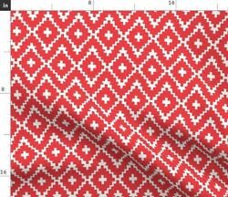 Diamonds Red Modern Holiday Lines Classic Ikat Spoonflower Fabric By The Yard