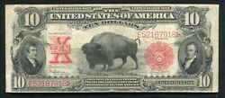 """Fr.122 1901 10 Ten Dollars """"bison"""" Legal Tender United States Note Very Fineb"""