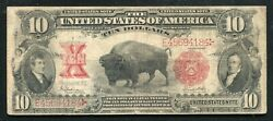 """Fr.122 1901 10 Ten Dollars """"bison"""" Legal Tender United States Note Very Fined"""