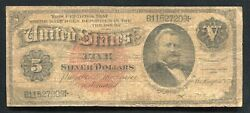 """Fr.261 1886 5 Five Dollars """"silver Dollar Back""""silver Certificate Currency Note"""