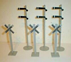 Vintage Lot 6 Plastic Railroad Crossing Traffic Signs For Lionel Or Marx O Scale