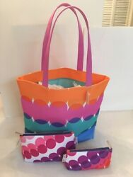 Clinique Large Canvas Tote Bag amp; Two Small Bags Limited Edition by Kapitza NWT $10.99