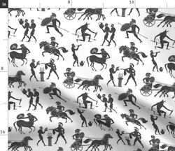 Greek Historical History Pottery Legend Ancient Spoonflower Fabric By The Yard