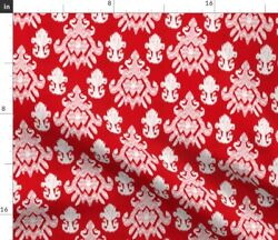 Christmas Ikat Red White Winter Holiday Candy Spoonflower Fabric By The Yard