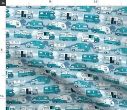 Motor Travel Truck Camper Pastel Colors Vehicle Spoonflower Fabric By The Yard