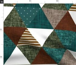 Teal Mocha Copper Spruce Triangle Triangle Spoonflower Fabric By The Yard