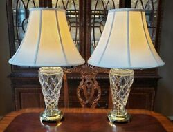 Waterford Crystal Pair Of Rare Killeen Lamps 26 Made In Ireland