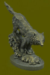 Hand Made Bronze Whining Wolf Statue Dog Breed Akc Wolves Coyote Native American