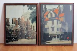 A Pair Of Rare Framed Prints By Fred Taylor 1875-1963 From The 30and039s
