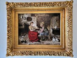 Signed Antique Oil Painting Man And Woman Spinning Yarn Wool 19th Century Ooak