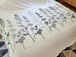 Crate And Barrel Woodland Ivory And Blue King Duvet Cover Embroidered 106 X 96 Euc