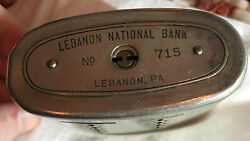 Wealthometer Bank With Key Lebanon Nat. Bank, Pa. The Auto. Recording Safe Co