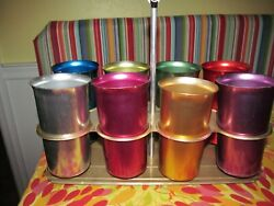 Vintage Sunburst Aluminum Tumblers With Carrying Caddy