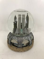 Vtg Nyc Twin Towers Statue Of Liberty Musical Snow Globe Three Jay's Imports