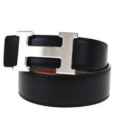 Auth Hermes Constance H Buckle Reversible Belt Leather Black Silver 65 39mg804