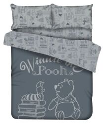 Disney Winnie The Pooh Fitted Sheet Pillow Case Duvet Cover Bedding Gray Books
