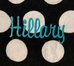 Specialty Monogrammed Beach Towel HILLARY White amp; Black Turquoise Embroidery 56quot; $25.99