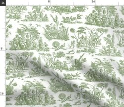 Green Antique Sage French Toile Paysage Spoonflower Fabric By The Yard
