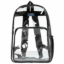 Clear Classic Backpack For Security Checkpoint   Fits 13 Clear/black Trim V2