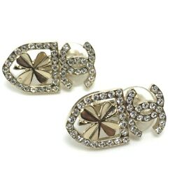 Earrings Clip On Clover Cc Rhinestone Coco 20b Gold Gp Authentic