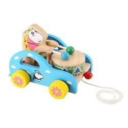 1xanimals Pull Toy,cartoon Animals Drum Cart Pull Drum Toy,early Education L6v6