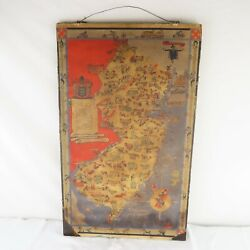 1931 Pictorial Map Of New Jersey By Bamberger's Dept. Store Rare 30 X 18