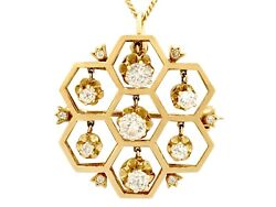 Antique And Vintage 1.29 Ct Diamond And 18k Yellow Gold Pendant/brooch