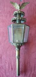 Vintage Lantern Outdoor Oil Lamp Wall Mount Sconce Cast Brass Eagle Finial Glass