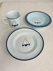 3 Pc SAILBOAT CHILDS Bowl Cup Plate by robinwood.boston Baby Collection 2003 Blu