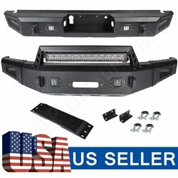Textured Heavy Full Width Front And Rear Bumper W/ Leds For 2015-2017 Ford F150