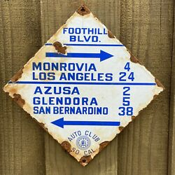 Vintage Southern California Auto Club Porcelain Metal Gas Oil Police Dept Sign