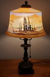 Antique Signed Pairpoint Reverse Painted Scenic 8 1/2 Boudoir Accent Table Lamp