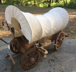 Vintage Extra Large Covered Chuck Wagon Wood Folk Art Look 3ft Wild West History
