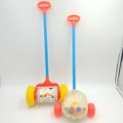 Corn Popper And Melody Chime Roller 757 Vintage Fisher-price Push Toys