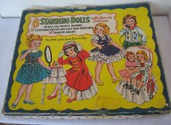 Vintage 1950 Saalfield Lace-on 6 Standing Paper Dolls Set 9857 With Box - Rare