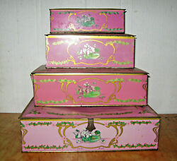 4 Vintage Louis Sherry Candy Tins - 5 3 2 And 1 Lb Boxes
