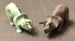 Vintage Marx Plastic Triceratops Dinosaurs Lot Of 2 Green And Grey