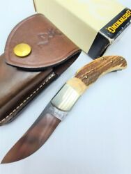 Vintage - Rare Browning 509 Made In Italy - Stag Pocket Folding Knife + Pouch