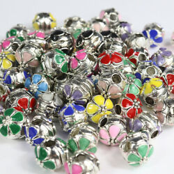 10 Pieces Colour Enamel Flower Silver European Charm Beads Locks Clips Stoppers